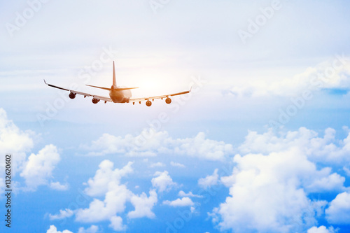 airplane fly in the sky, international passenger flight, travel concept background