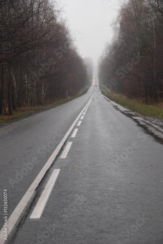 Foto op Plexiglas Weg in bos Droga na trzech garbach / górkach w Katowicach.