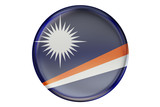 Badge with flag of Marshall Islands, 3D rendering