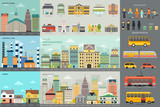 Fototapety City Life and Transportation Infographic Elements