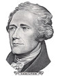 Alexander Hamilton face portrait on US 10 dollar bill closeup isolated, United States of America money close up.