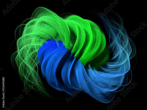3d abstract with green and blue lines.
