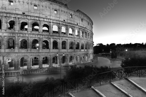 Poster night view of Colosseum, Rome, Italy b/w
