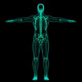 Radiografia scheletro su sfondo nero