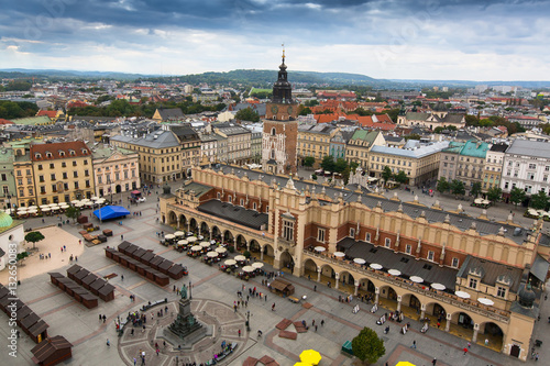 Main market square and Cloth Hall of Krakow, Poland.