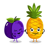 Cute fruit cartoon characters isolated on white background vector illustration. Funny pineapple and plum emoticon face icon collection. Happy smile cartoon face food emoji, comical fruit mascot set.