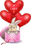 Cartoon bunny in a gift box holding red shape balloon
