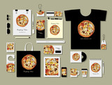 Corporate flat mock-up template, pizza design