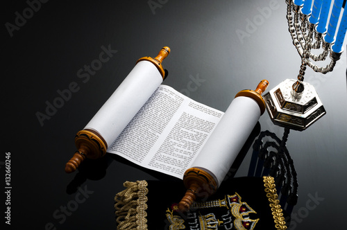 Plakát Religion and Judaism concept with the holy Torah and a menorah