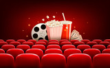 Cinema background with a film reel, popcorn, drink and tickets.