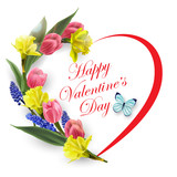 Valentines Day Card. The heart of the beautiful spring flowers, tulips,  daffodils.Spring background. The template vector.