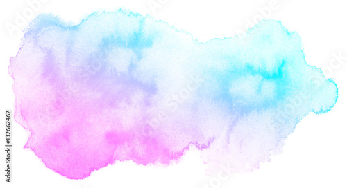 Abstract pink watercolor on white background.The color splashing on the paper.It is a hand drawn. - 132662462