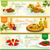 Italian cuisine dishes banner set for food design