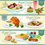 French cuisine popular food banner set design