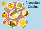 Armenian cuisine dinner icon for menu design