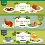British cuisine national dishes banner set design