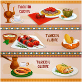 Turkish cuisine meat dishes banner for menu design