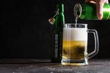 Glass mug of light beer