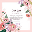 Vector illustration of a beautiful floral border with spring flowers for invitations and birthday cards  - 132667086