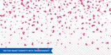 Pink hearts petals falling vector Valentine background - 132667208