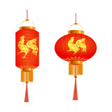 A set of orange Chinese lanterns with a pattern. Round and cylindrical shape. 2017 fire cock. Isolated on white background. illustration