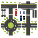Set design of transport interchanges. Intersections of different highway. Roundabout Circulation. Transport. Bridge. illustration