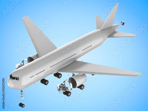 Poster airplane split off machine parts
