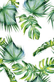 Seamless watercolor illustration of tropical leaves, dense jungle. Hand painted. Banner with tropic summertime motif may be used as background texture, wrapping paper, textile or wallpaper design. - 132673288