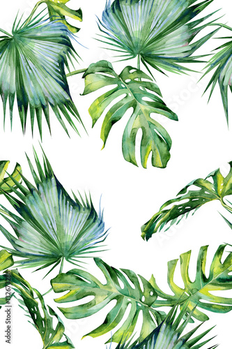 Fototapeta Seamless watercolor illustration of tropical leaves, dense jungle. Hand painted. Banner with tropic summertime motif may be used as background texture, wrapping paper, textile or wallpaper design.