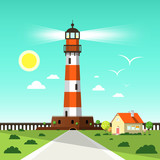 Lighthouse Tower Vector Illustration with Seagulls on Blue Sky, House and Sun