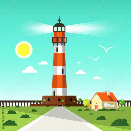 Foto op Canvas Groene koraal Lighthouse Tower Vector Illustration with Seagulls on Blue Sky, House and Sun