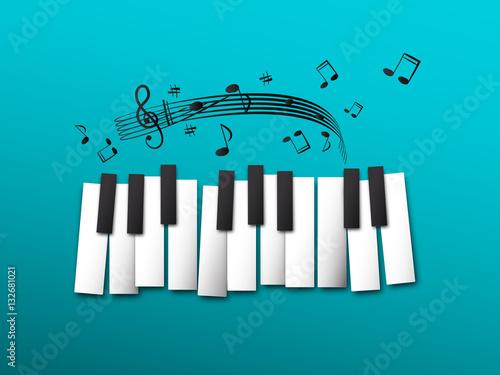 teclas-del-piano-notas-musicales-sobre-fondo-azul