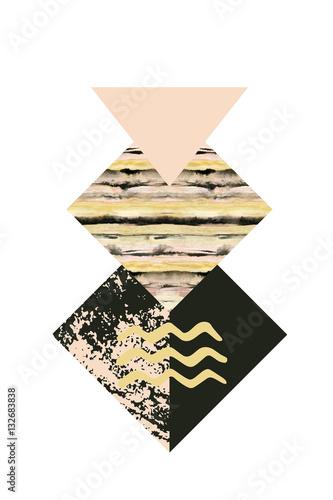 Geometria abstrakcyjna kształtów z teksturami akwarela i grunge