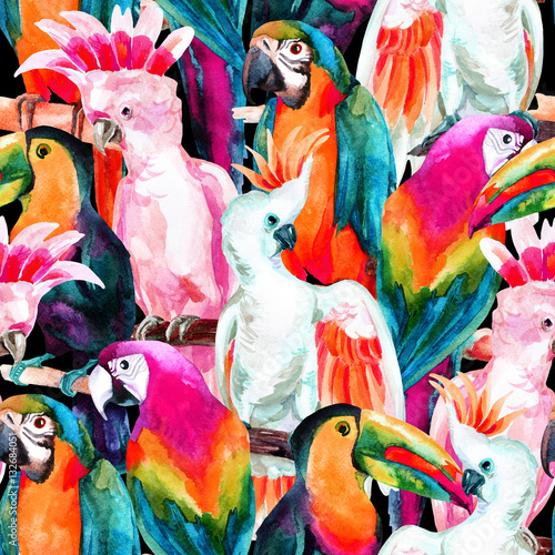 watercolor parrots seamless pattern - 132684051