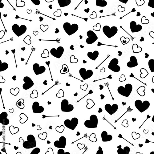 Cotton fabric Valentine heart love seamless pattern with arrows