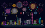 Cityscape Building Line Hong kong city and firework Vector Illustration design