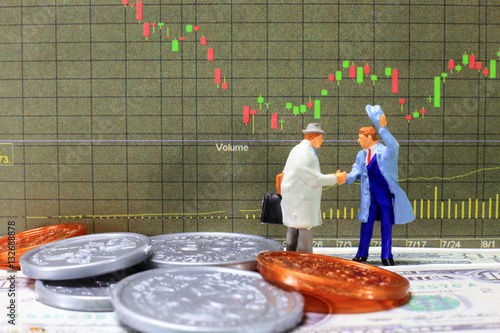 Two investor are making commitment in stock market. Poster