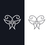 Overlapped one-line butterfly sign, symbol. - 132691033