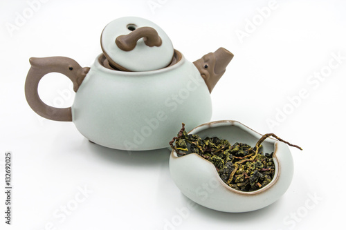 Poster Chinese Oolong Green tea (Tie Guan Yin) with small pot