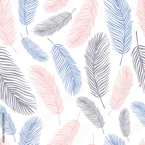 Seamless pattern with exotic feathers. - 132695621