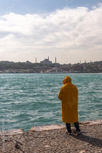 Poster Angler am Goldenen Horn in Istanbul