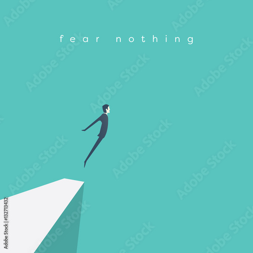 Business concept of courage. Businessman jumping off a cliff as sign brave leadership and step forward.