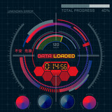 Heads-Up Display - HUD. Sci-Fi User Interface. Vector Illustration. By the Japanese hieroglyphs it is written Alarm Danger.