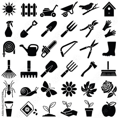 Fridge magnet Garden icon collection - vector illustration