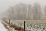 Dimma över åkermark med elstängsel och skogsdunge
