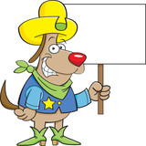 Cartoon illustration of a dog wearing a cowboy hat and holding a sign.