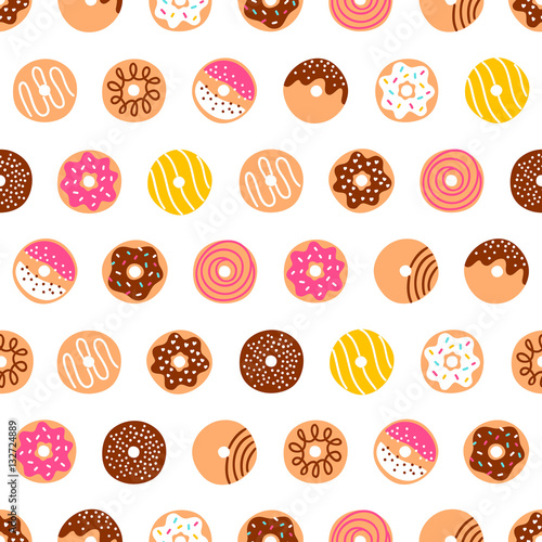 Cotton fabric Doodle donuts pattern on white background