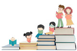 Fototapety Children education and young culture growth with books