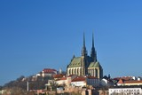 Brno - Czech Republic - Europe. Photo architectures sun and blue skies. Temple Petrov and Spilberk Castle.