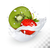 Strawberry and kiwi in a milk splash on a transparent background